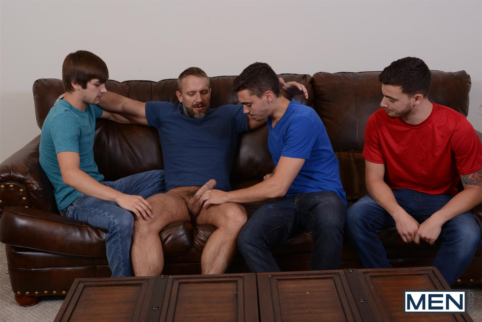 Men Jizz Orgy Asher Hawk and Dirk Caber and Johnny Rapid and Trevor Spade Triple Penetrated In the Ass Amateur Gay Porn 03 Stepfather Dirk Caber Gets TRIPLE Penetrated By His Stepsons