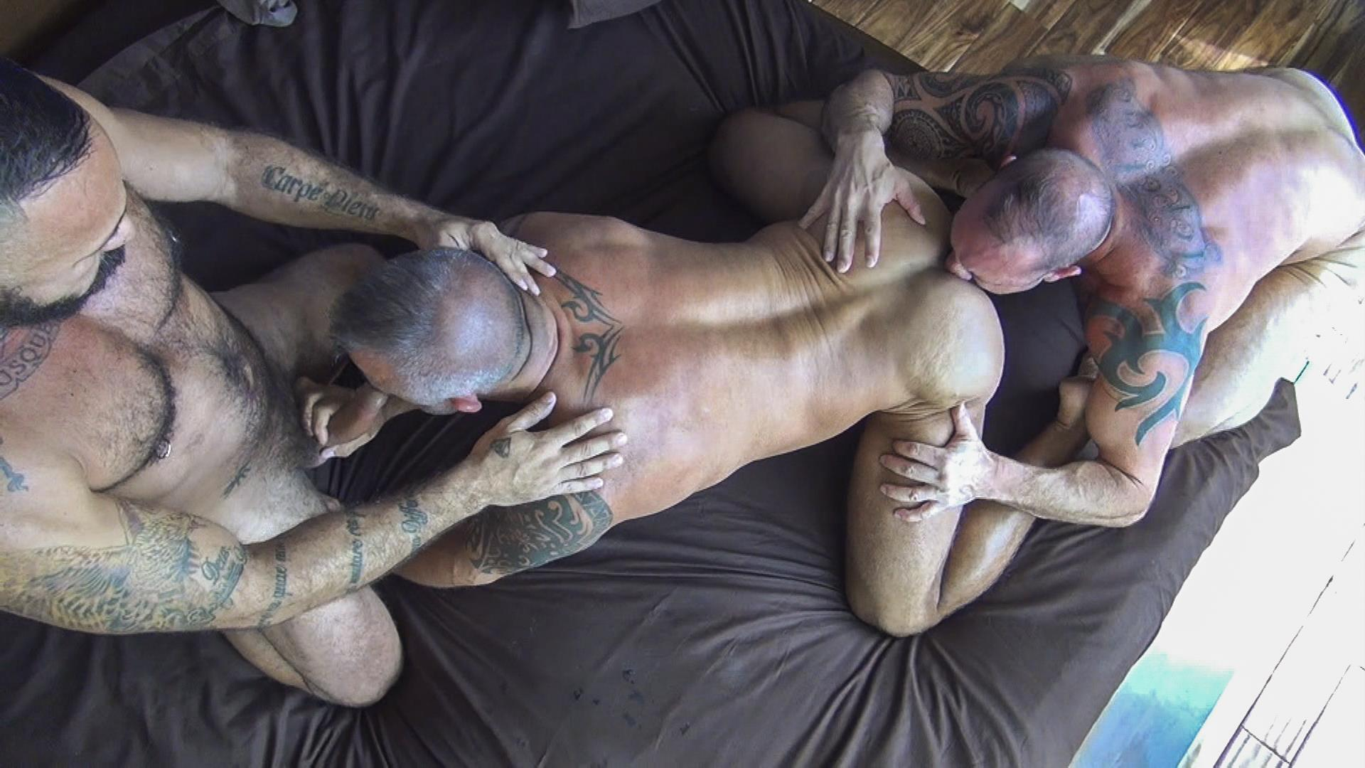 Raw Fuck Club Alessio Romero and Jon Galt and Vic Rocco Hairy Muscle Daddy Bareback Amateur Gay Porn 2 Hairy Muscle Daddy Threeway Double Bareback Penetration