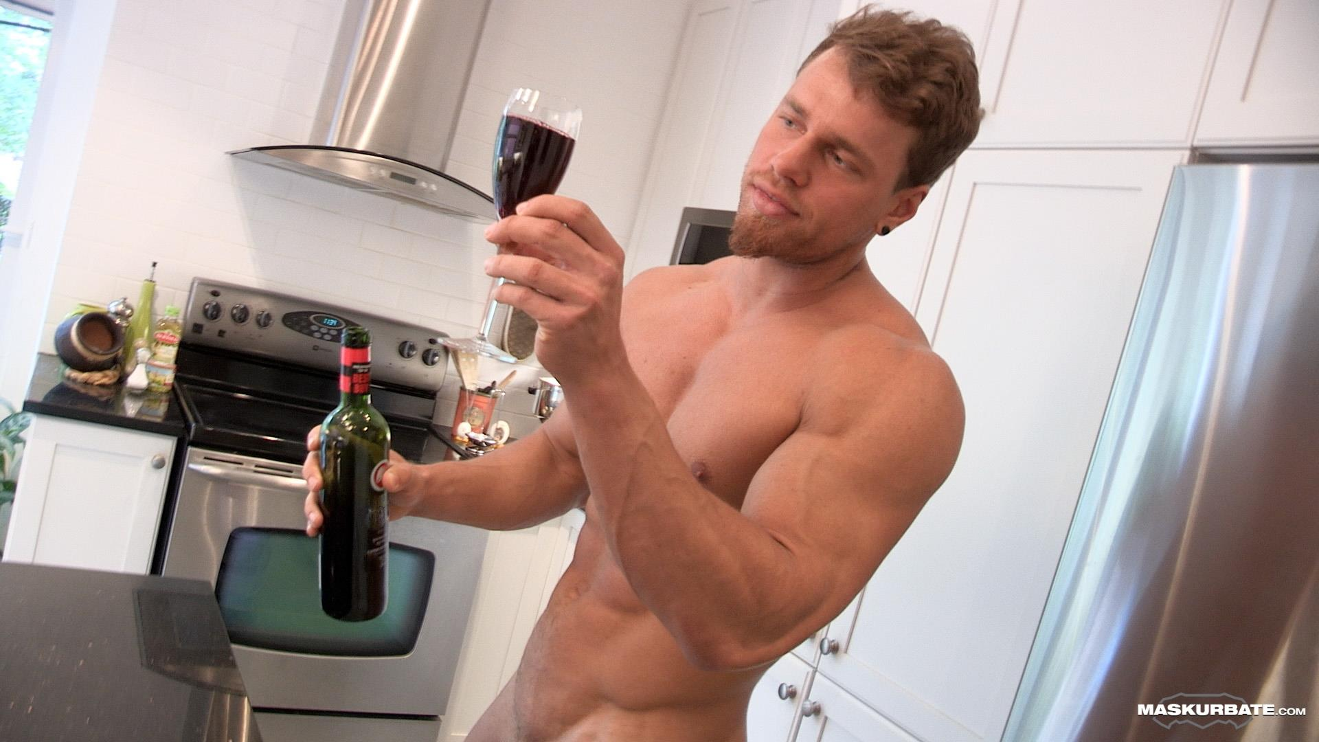 Maskurbate-Muscular-Guy-With-A-Big-Uncut-Cock-Jerking-Off-15 Jerking Off My Big Uncut Cock Into My Friends Wine Glass On New Years Eve